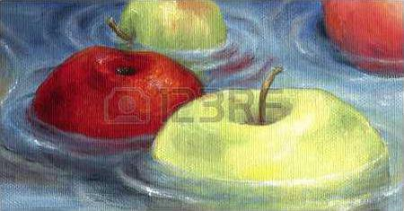 apples-floating-on-the-water-surface-floating-apples-depicted-in-oil-on-canvas