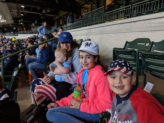 Vivian'a first baseball game with family