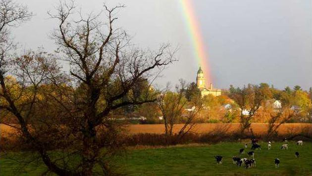 Courthouse Photo with Rainbow