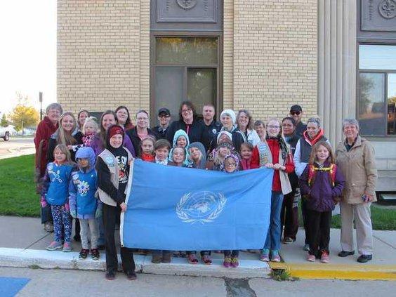 UN flag raising