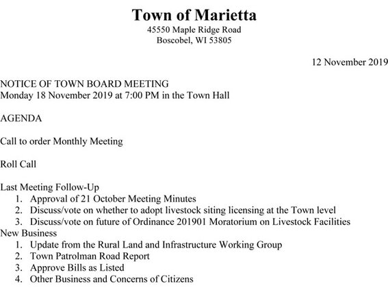 Marietta Town Board agenda