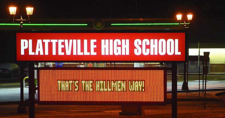 Platteville High School sign