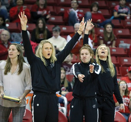Wisconsin Badgers women's basketball players Grace Mueller, Sydney Hilliard and Courtney Fredrickson