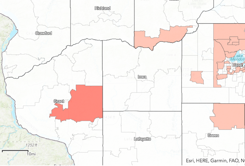 Census tracts with 5+ positive tests