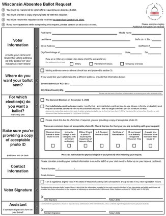 Absentee Ballot mailing application page one