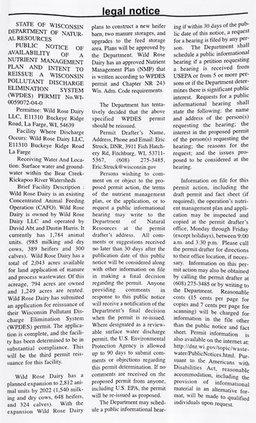 Wild Rose Dairy permit renew/expansion public notice_073020