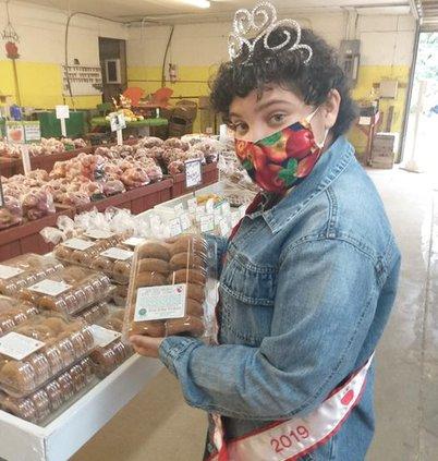 Maya at West Ridge with donuts