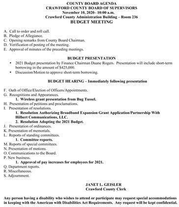 Nov. 10, 2020, county board agenda
