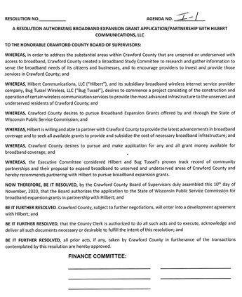 Hilbert Communications LLC - CCBOS resolution