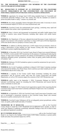 Resolution to extend CC CAFO Moratorium