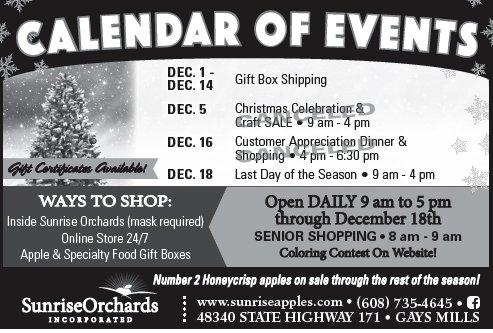 Sunrise Holiday 2020 Calendar of Events