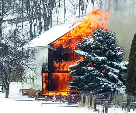 Boscobel_fire destroys rural home