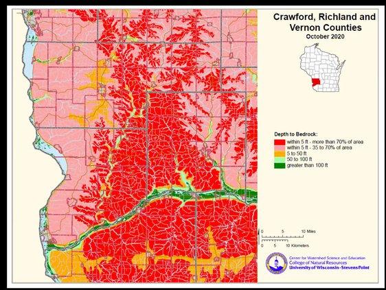 Depth of Soil to Bedrock Map