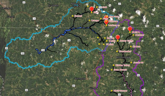 Flood control dam locations - West Fork and Coon Creek