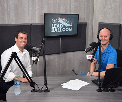 Dusty Weis, right, a 2003 Monroe graduate recently spoke with Wisconsin U.S. Senate candidate Alex Lasry inside Weis' new podcast studio in downtown Milwaukee.