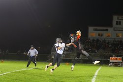 Darlington's Easton Evenstad intercepts a pass in a 41-0 win over Benton-Scales Mound-Shullsburg in a WIAA Division 6 playoff game Oct. 22.